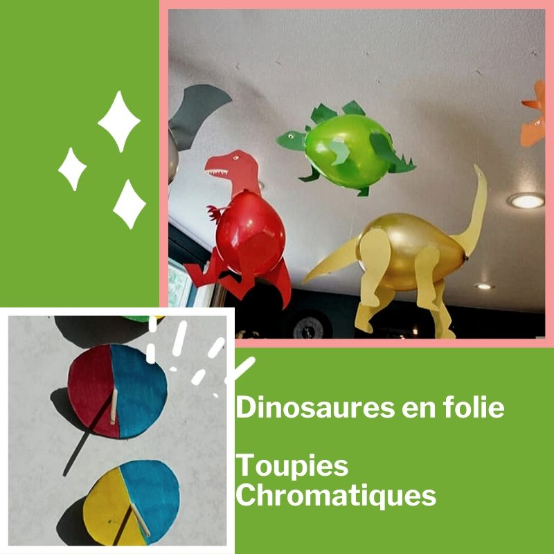 Dinosaures en folie  et les toupies chromatiques