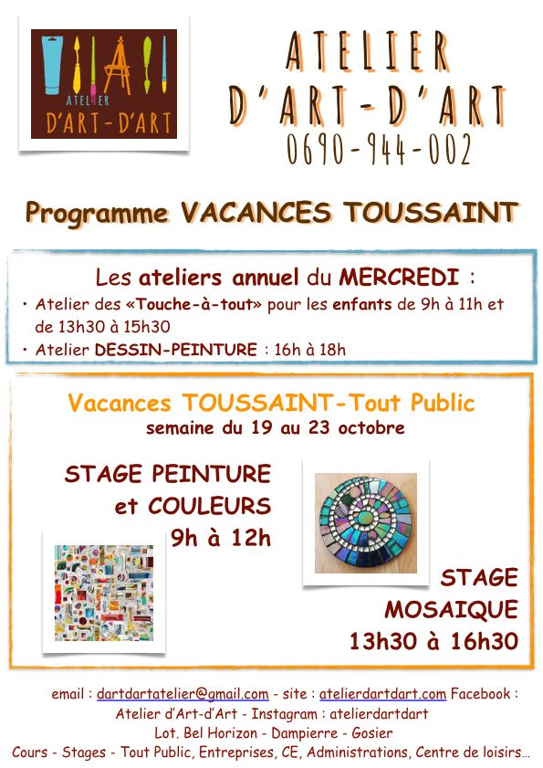 Vacances de Toussaint : Stage peinture couleurs et mosaïques