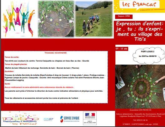 Expression d'enfant: je , tu ; ils s'expriment au village des Titi' s – 7 à 12 ans Port Louis