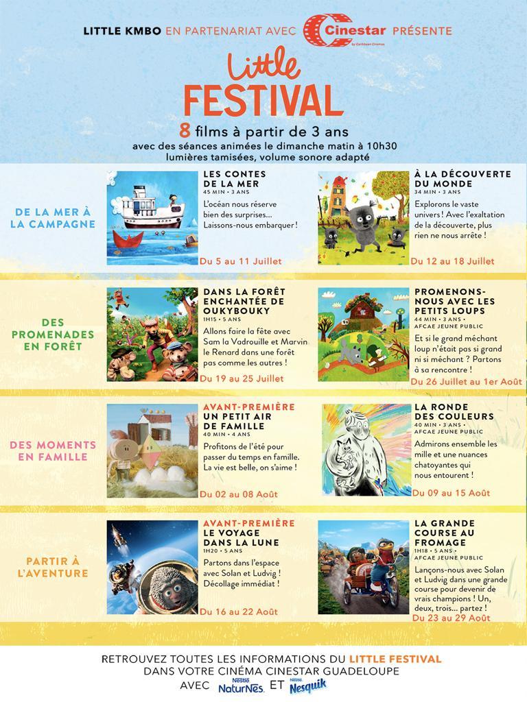 Little Festival à partir de 3 ans – 8 films  adaptés – au CINESTAR du 5 Juillet au 29 Aout