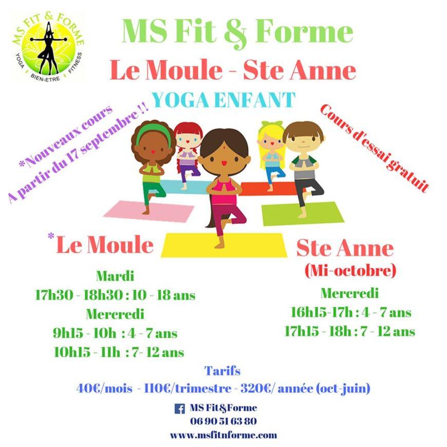 YOGA ENFANT AVEC MS Fit&Forme – Yoga & Fitness – Guadeloupe – Sainte Anne et Le moule