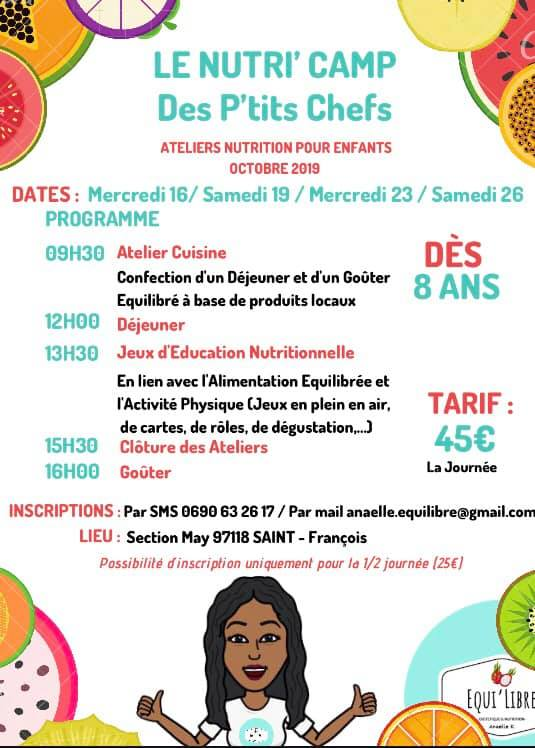 Le Nutri Camp des P'tits chefs 16 -19 -23- 26 Octobre