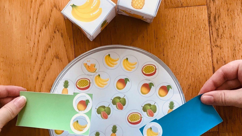 Jeu à imprimer et fabriquer avec nos fruits locaux en partenariat avec Kreakids