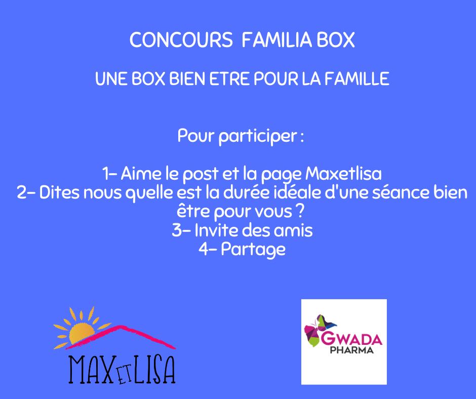 Concours Familia box avec Gwada Pharmacie » Box Bien être» – Janvier 2020