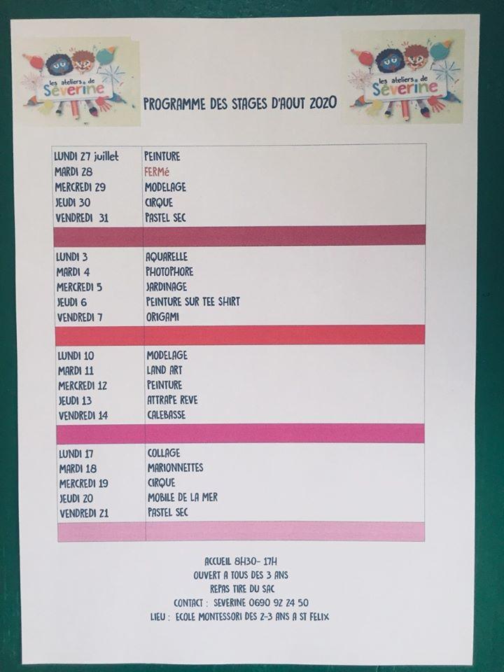 Vacances: un stage du 27 juillet au 21 aout à partir de 3 ans