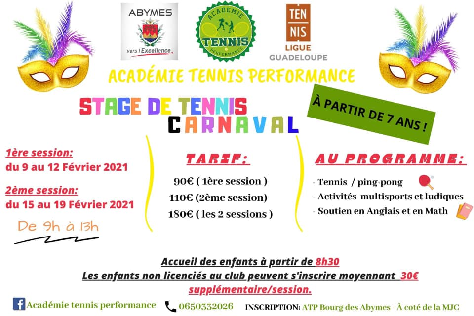 Vacances de Carnaval – Stage de tennis-Abymes