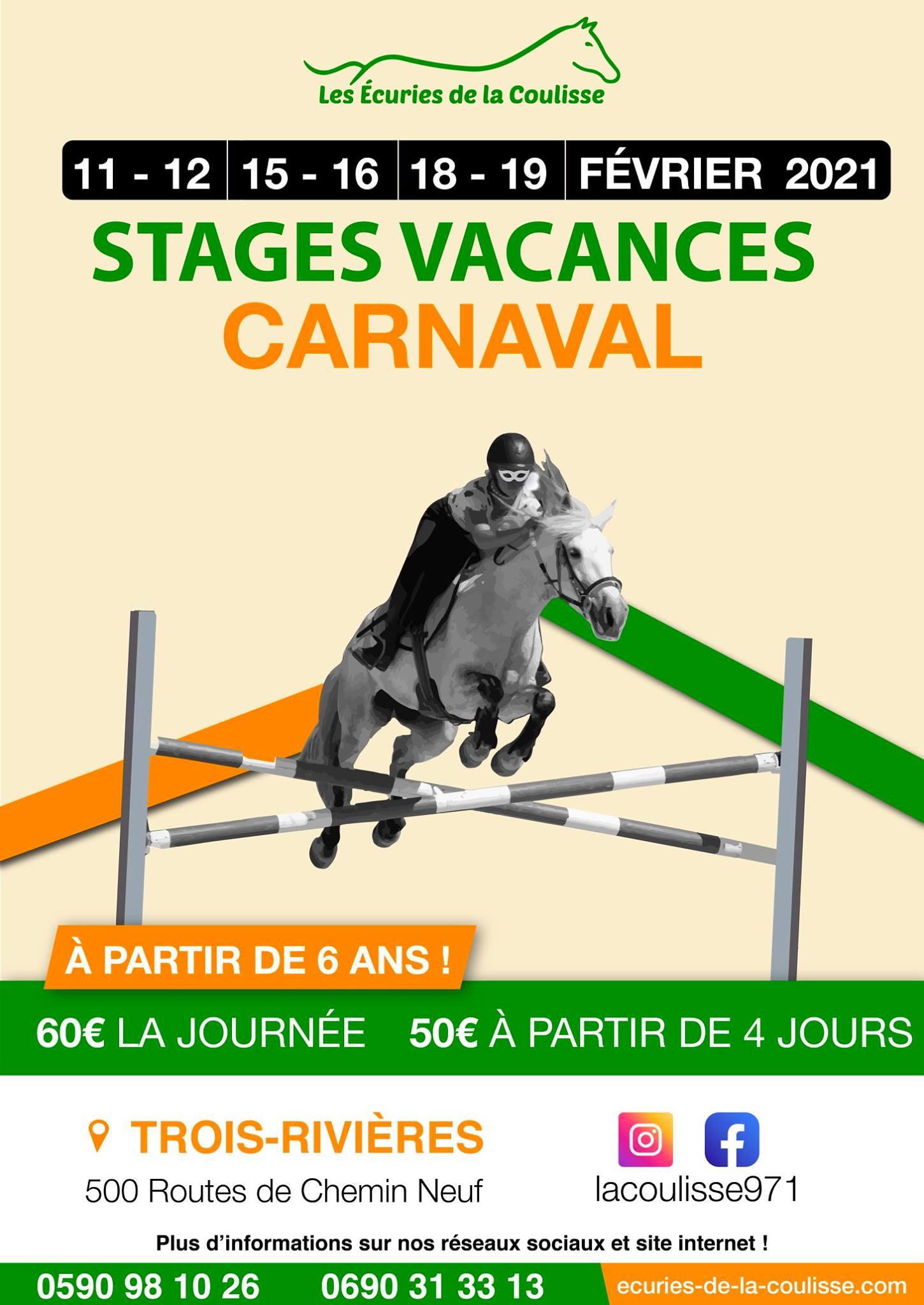 Vacances de carnaval – Stage équitation – Trois rivières
