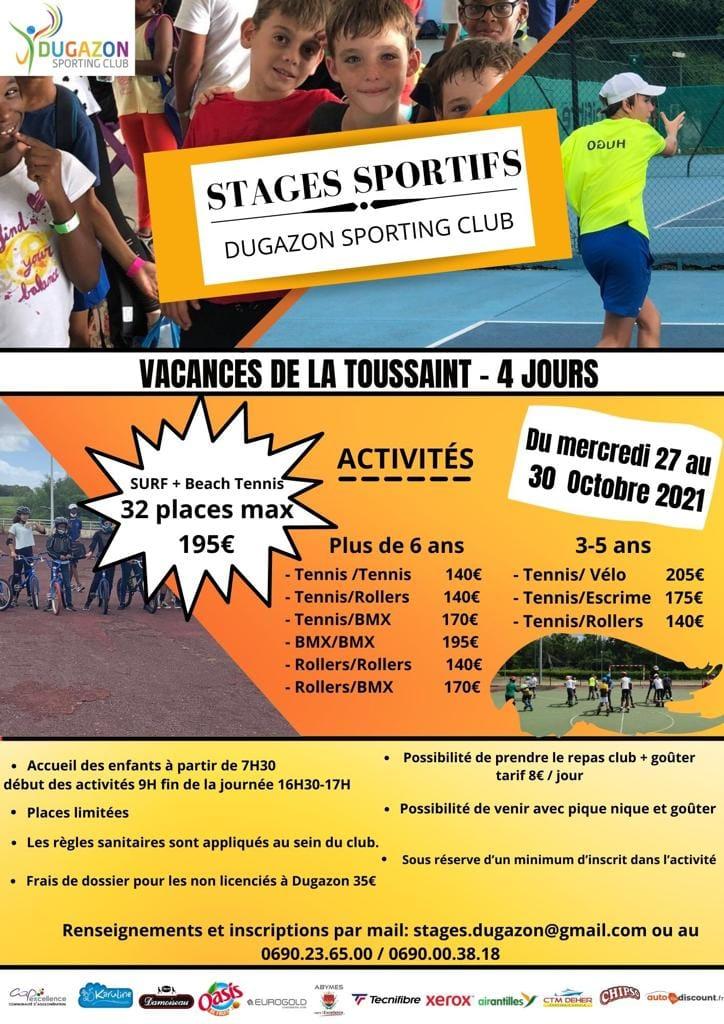 Vacances de la Toussaint- Abymes – Stage sportif – à partir de 3 ans